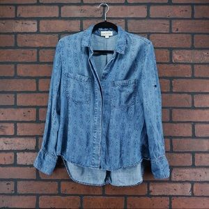 CLOTH & STONE Split Back Ikat Chambray Blouse S